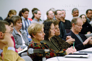 """Dr. Jacqueline Claunch of Northwest Vista, Dr. Patricia Candia of St. Philip's, Dr. Ana M. """"Cha"""" Guzmán of Palo Alto College and Dr. Robert Zeigler of San Antonio College at a board meeting Dec. 12, 2003. File"""