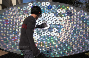 A student almost sets his sweater on fire with the satellite dish designed by Society of Physics Feb. 13, 2013. File