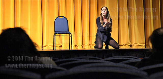 "Theater freshman Lia Treviño is participating in an open audition for ""Romeo and Juliet"" Monday in McAllister. Treviño recites a monologue as Julia from William Shakespeare's ""Two Gentlemen of Verona."" She said she is looking forward to getting back into acting. Photo by Daniel Carde"
