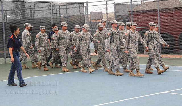 Ret. Major Monica Martinez's ROTC students practice a cadence during lab Tuesday on the tennis court south of Candler. Students enrolled in military science courses at this college conduct training with ROTC students of the University of Texas at San Antonio at the university campus and Camp Bullis in Northwest Bexar County. Students must provide a birth certificate, Social Security card, Texas ID and pass a physical to receive a uniform required for the class. Students compete for scholarships which require a minimum 2.5 GPA. Photo by Riley Stephens