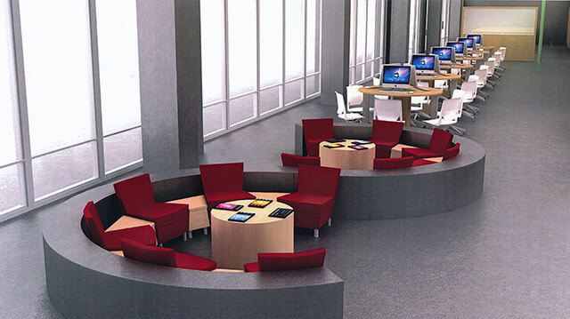 The proposed welcome center in Phase 2 of Tobin Lofts could have a circular seating arrangement in the waiting area and personal computer stations, as seen in the architect's computer rendering. Helpers with iPads will answer questions. Courtesy Alamo Architects