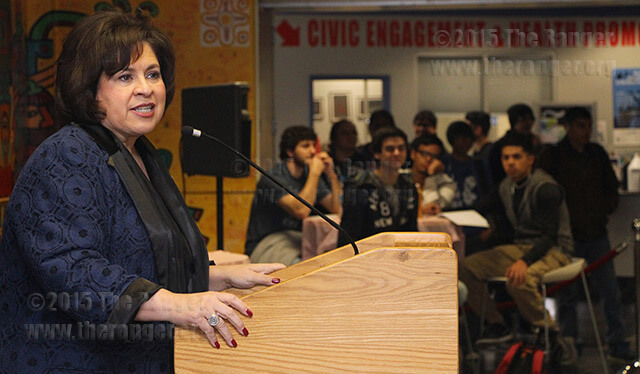Former State Sen. Leticia Van de Putte stresses the importance of honoring women who fought for voting and education rights March 2 during the opening ceremony of Women's History Month in the Fiesta Room of Loftin. Van de Putte said the only limitations women have today are the ones they put on themselves. More than 100 students and faculty attended the ceremony.  Photo by E. David Guel