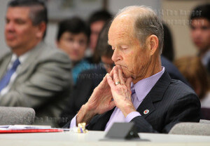 President Robert Zeigler listens to results of a bond sale at Tuesday's regular board meeting. Photo by Melissa Perreault