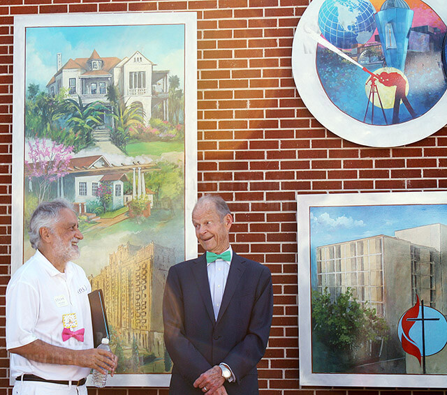 President Robert Zeigler and Lanny Sinkin, executive director of Solar San Antonio, visit after the unveiling of a mural created by artist Luís López, a Tobin Hills resident, April 22 at William R. Sinkin Eco Centro. In memory of Sinkin, former student and eco-activist who passed away earlier this year, guests wore green bow ties. Photo by Neven Jones
