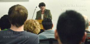 Carol Coffee Reposa reads March 26 in Moody. Photo by Siobhan O'Donnell