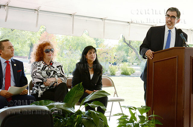 Palo Alto College President Mike Flores tells the community that early college high school programs will expand students' preparedness during the ribbon-cutting ceremony Aug. 21 at Palo Alto College. Photo by Neven Jones