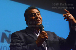 ABC News correspondent John Quiñones tells students and the community that teachers shouldn't judge students by their accent or the color of their skin at a Q and A session Aug.21 at the performing arts center at Palo Alto College. Quiñones couldn't speak English when he began school. He spoke after a ribbon-cutting ceremony for the early-college high school program at Palo Alto. Photo by Neven Jones