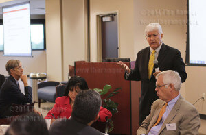"Dr. Raymund A. Paredes, commissioner of higher education for the Texas Education Agency, speaks to Alamo College representatives about making sure students select the right careers Wednesday during an Alamo Community College special board meeting in the Bowden Alumni Center at St. Philip's. Paredes urged educators to ""make sure to give every child a solid academic foundation.""  Photo by E. David Guel"