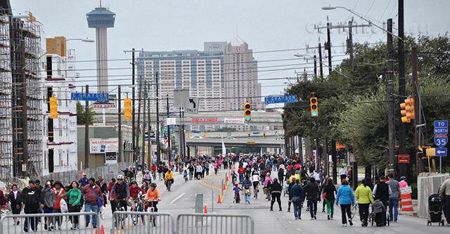 Participants walk, skate and cycle Sunday at Siclovia at Broadway and Grayson. Broadway was closed between Parland and Alamo Plaza for the event sponsored by the city of San Antonio. File
