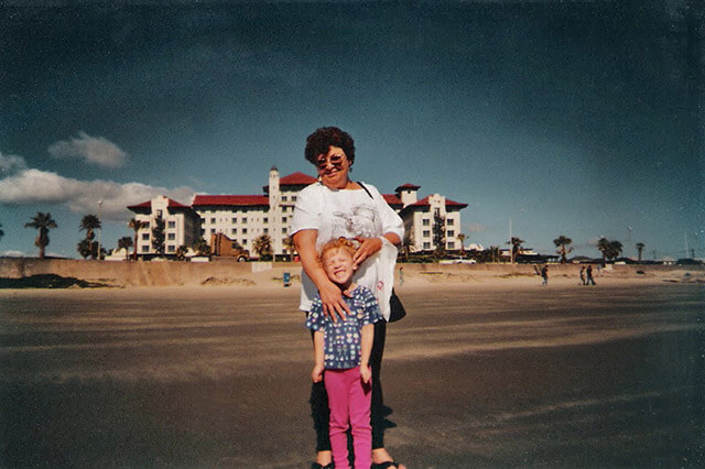 Five-year-old Bleah smiles with her grandmother, Jennifer Sylvester, in Galveston in 2000.  Courtesy