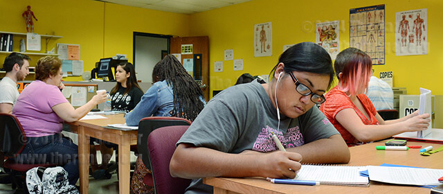 Nursing sophomore Joanna Melendez studies for her biology class at the BioSpot Sept. 9 in Room 350 of Chance. Work-study student Liz Jennings said it's important for students to sign in when they come to the BioSpot because the district wants to see how many students are using the space. Hours are 8 a.m.-7 p.m. Monday and Wednesday, 8 a.m.-7:30 p.m. Tuesday and Thursday.  Neven Jones