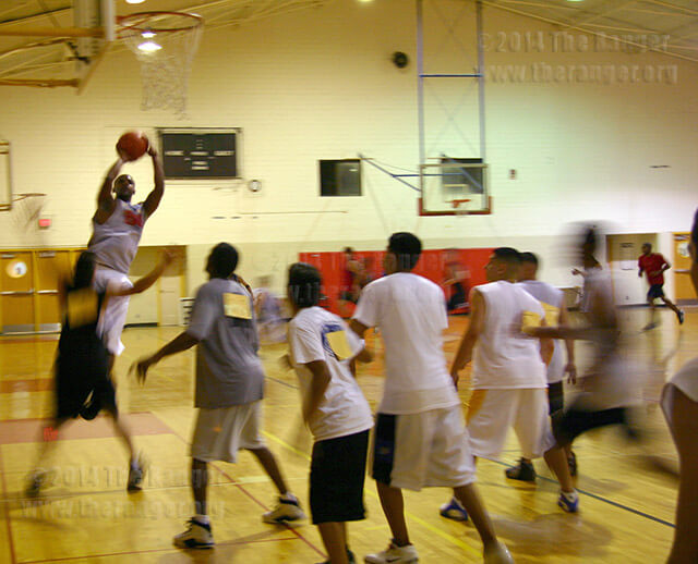 Students tryout for the spring 2005 men's basketball team in Candler. Men's and women's tryouts will be 4-6 p.m. Thursday and 9-11 a.m. Friday. Men's tryouts will be in Gym 1 and women's tryouts in Gym 2 of Candler.  File