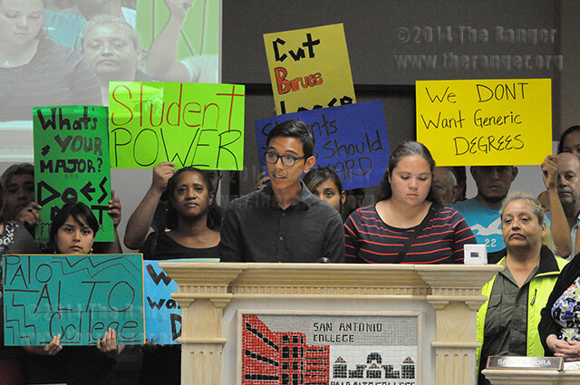 Palo Alto students Simon Sanchez and Melissa Esparza speak Tuesday at citizens to be heard against transfer degrees at the Killen center. Palo Alto and SAC students and their parents stood to support Sanchez and Esparza. Photo by Ian Coleman