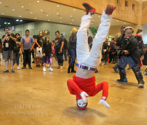 "Freestyle dancer Arthur Jenkins performs a break dance routine without any music Sept. 28. ""Even if there is no music, I can still hear a beat in my head,"" he said.  Photo by Christopher A. Hernandez"