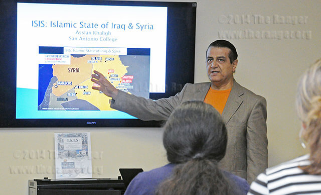 Government Professor Asslan Khaligh talks about the Islamic States of Iraq and Syria (ISIS) Nov. 4 at Hot Potato in the Methodist Student Center. Khaligh discussed the events leading up to the ISIS surge in the Middle East, such as the historical significance of World War I, World War II and the rise of the Ba'ath Party. Photo by Ian Coleman