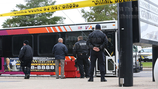 San Antonio Police Department and Crime Scene Unit officers investigate a fatal shooting earlier this afternoon on VIA bus 90 at North Main and East Cypress. Traffic was still blocked on Main between Poplar and Cypress around 4:45 p.m.  Photo by Daniel Carde