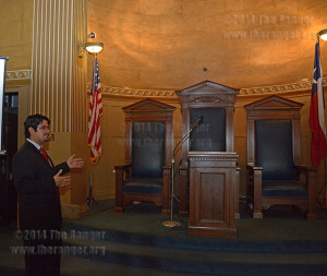 Anthropology sophomore Alex Ruiz talks about Perfect Union Lodge Room 10 at the Scottish Rite temple Oct 21. The lodge rooms are numbered in the order they were created.   Photo by Neven Jones