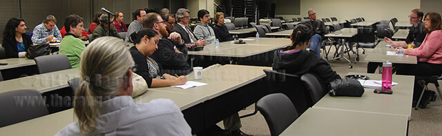 Faculty members listen to district 8 trustee Clint Kingsbury (far right) at a faculty senate Q&A session in Nursing and Allied Health Center Nov. 20. Photo by M.J. Callahan