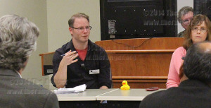 District 8 trustee Clint Kingsbury discusses transfer degrees at a special Faculty Senate meeting. Faculty senate invited trustees for the Q&A session, Kingsbury was the only trustee who attended Thursday in the Nursing and Allied Health Center Nov. 20.  Photo by M.J. Callahan