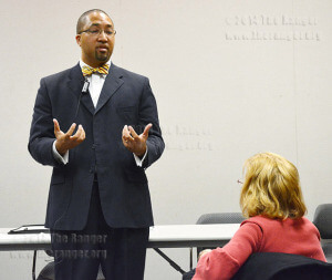 Vice Presidential candidate Gregory McLeod speaks to faculty and staff Wednesday in room 120 of visual arts center about his experiences and strategic planning used in St. Petersburg College. McLeod is Provost of St. Augustine Campus and is involved in the community of St. Augustine, Fl., providing real world experience to the students with internships. Manuel Bautista-Macias