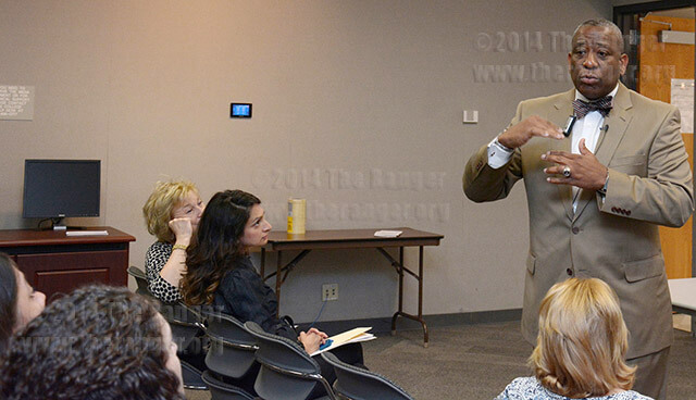Curtis O. Hill candidate for vice president of student success answers questions today in an open forum in visual arts. Hill, vice president of student success at Paris Junior College in Texas, said it is important to know how to deal with people because some need a more hands-on approach.  He said he is good at reading people. Photo by Neven Jones