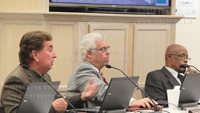 District 1 trustee Joe Alderete expresses his discontent with removing majors from degrees at a meeting of the Student Trustee Committee Tuesday. Chancellor Bruce Leslie and District 2 trustee Denver McClendon listen as he explains there's not much support for the initiative.