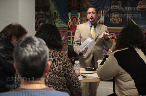 Richard Farias, director of student activities, provides student activity fee updates during an advisor brunch Tuesday in the Fiesta Room of Loftin. Faculty, staff and administrators represented their departments to discuss student life events and academic plans for the semester.  Photo by E. Davd Guel