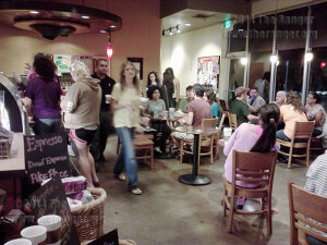 Deaf Chat participants enjoy Starbucks while practicing sign language skills.  Photo by Paula Christine Schuler
