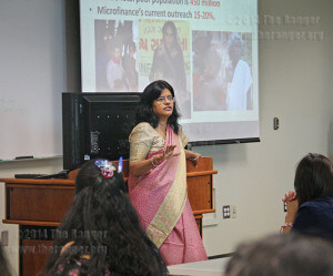 Fulbright scholar Trupti Jain from Michigan State University talks about microfinance and women in poverty in India Nov. 8 in nursing.  Photo by Carolina Vela