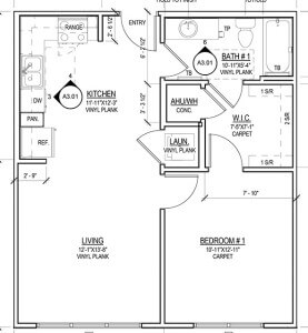 Floor plan for a one-bedroom in Tobin Lofts  Courtesy