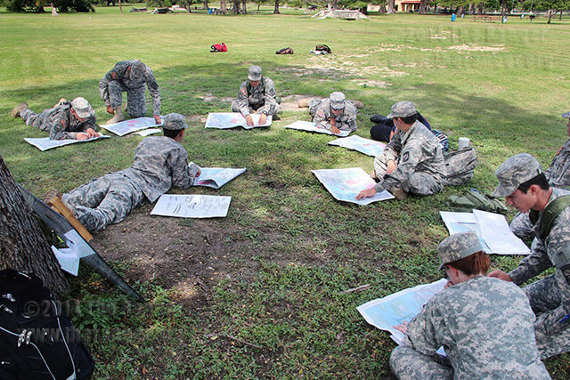 Cadet Capt. Josh Castañeda leads a group of ROTC cadets in locating coordinates in a map reading and land navigation station Sept. 18 in San Pedro Springs Park. ROTC students rotated through various stations, including compass familiarization, map reading and land navigation, orienteering techniques and pace count.  Photo by Nicole West