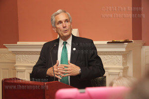 U.S. Rep. Lloyd Doggett, D-Texas, encourages involvement during a speech Nov. 2 in Koehler.  Photo by Sergio Ramirez