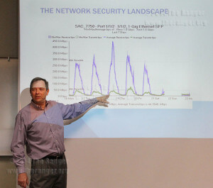 Arne Saustrup, senior manager of network and operations for the district, shows the spike of network traffic during his lecture Oct. 28.  Photo by Emily Rodriguez