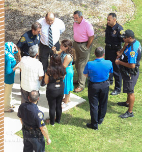 District police and student affairs administrators gather information on an incident in Oppenheimer Wednesday.  Photo by Riley Stephens