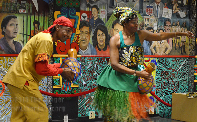 T-Bow Gonzales and Deirdre Lacour dance and play the shekere gourd during the African Festival last year.  File