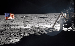 Apollo 11 astronaut Neil Armstrong on the lunar surface.  AccuNet/AP
