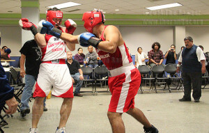 Liberal arts freshman Sean-Robert Engleka dodges a punch from criminal justice sophomore Kevin Orozco during a sparring match Oct. 26 in Loftin.  Photo by Monica Correa