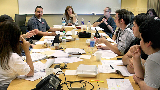 Jeff Schnoor, top left, participates in a Student Activity Fee Committee meeting Oct. 12.  Photo by Monica Correa