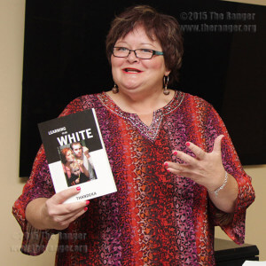 "Linda Baumheckel, senior pastor at St. Paul's United Methodist Church in Corpus Christi, discusses racism and the book ""Learning to be White: Money, Race and God in America"" by Thandeka during the Hot Potato lecture Tuesday.  Photo by Taylor Tribbey"