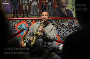 Pierre Poree, member of the Bob Black Trio, plays a saxophone at last year's Mardi Gras event in the Fiesta Room of Loftin.  File