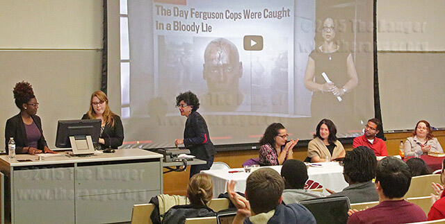 "Cairo DeGaillard, president of the Black Student Union; Jessica Luhrman, vice president of Diversity Connection; and Rosa Aloisi, assistant professor of political science, rise to present a video clip of recent police brutality and discrimination against minorities to attendees of the Diversity Dialogue: ""I Can't Breathe"" lecture Feb. 24 in Room 040 of Northrup Hall at Trinity University. Others on the panel from left to right; Keesha Middlemass, assistant professor of political science; Sarah Beth Kaufman, assistant professor of sociology and anthropology; Carey Latimore, associate professor of history; and Katie Blevins, visiting assistant professor of communications. They spoke of personal instances with racial profiling, statistics of minority oppression and militarization of police in the U.S. as a part of Trinity's Black History Month.  Photo by Tress-Marie Landa"