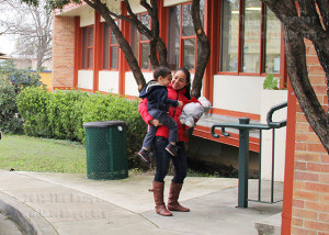 Psychology freshman Ana Faces drops off her child, Carlos Nayen, 2, Thursday at the early childhood center before classes.  Photo by Cynthia M. Herrera