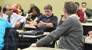 Prospective student Joe Guilbeau discusses a lack of communication to students on the status of majors and transfers at the Faculty Senate meeting Wednesday.  Photo by Pam Paz