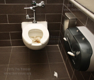 Except for an unflushed toilet, a unisex restroom 1:03 p.m. Feb. 16 in Room 404 of Moody is clean.  Photo by Pam Paz