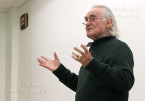 Holocaust survivor William Samelson, a professor emeritus of the foreign languages department, recounts his experience Tuesday in Oppenheimer during a leadership series for the public administration program. When Samelson was a boy in Poland, he played his violin for Nazis. After about 10 minutes, a Nazi officer smashed the violin on Samelson's head. His brother later told him he saw several Nazis with tears while he played. Samelson said he played to save lives. Read the story online.  Photo by Daniel Carde