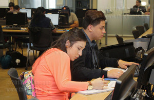 Nursing freshmen Gabrielle Martinez and Tristian Ortiz work on homework Feb. 25 in the Student Learning Assistance Center on the seventh floor of Moody. Students now have access to Brain Fuse, an online tutoring program accessible through ACES and Canvas. The SLAC lab is open 8 a.m.-8 p.m. Monday through Thursday, 8 a.m.-4 p.m. Friday and 9 a.m.-4 p.m. Saturday.  Photo by E. David Guel