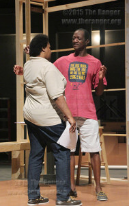 "Vincent Hardy, St. Philip's College theater instructor and director, and Michelle Burnett, district continuing education coordinator of workforce education, discuss a scene during rehearsal for ""Lady Day at Emerson's Bar and Grill"" Wednesday in Watson theater.  Photo by Pam Paz"