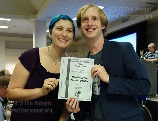 Managing editor Mandy Derfler and multimedia editor Daniel Carde won second place for two-person photo essay on -site competition at Texas Intercollegiate Press Association.