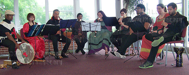 The Early Music Ensemble performs in the foyer of McAllister April 17 led by music Professor Madalyn Blanchett, seated second from left. The ensemble will perform7:30-8:30 p.m. May 4, in McAllister auditorium.  Photo by V.L. Roberson