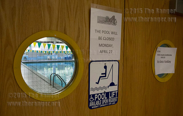 "The pool was closed and two classes canceled April 27 over concern of possible fecal matter in the pool after ""I pooped in this pool"" was found graffitied on the bottom of the shallow end in Candler.  Photo by Daniel Carde"